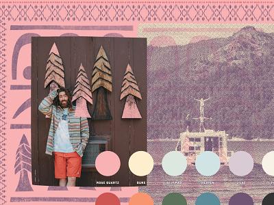 Burton Spring/Summer Composition tonal organic halftone color color palette boat trees border bitmap