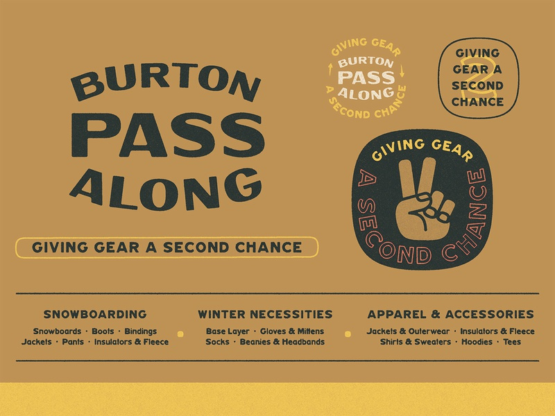 Burton Pass Along Brand Board clothing gear texture hand routered national parks squircle sustainability lettering peace sign