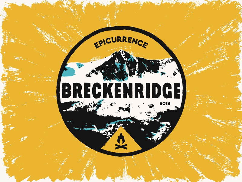 Epicurrence Breckenridge Badge lettering typography type badge landscape mountain campfire epicurrence