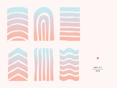 New England Brew Teaser typography lockup poster ocean water mountains sun new england layout type gradient abstract cut paper