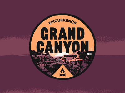 Epicurrence Grand Canyon type bitmap lockup badge horizon mountains camping campfire sunset sun painted textured typography illustration outdoors grand canyon