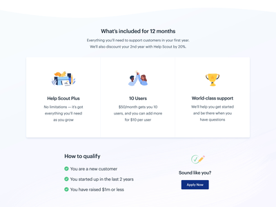 Help Scout for Startups interaction hover cards checklist list cta call to action illustration motion layout web design