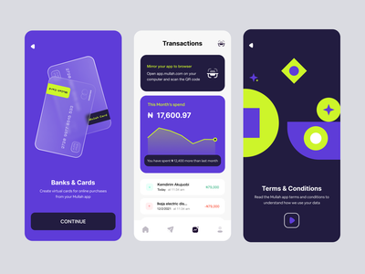 Mullah app explorations virtual cards cards fintech crypto dashboard ux uxdesign uidesign animation lightmode web mobile