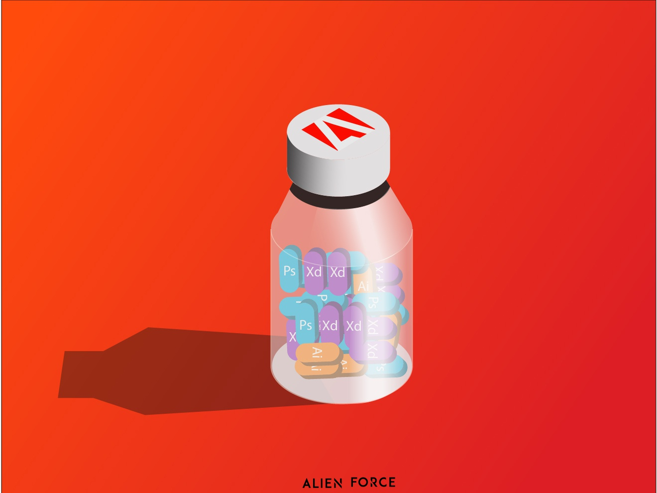adobe bottle isometric design illustration vector design