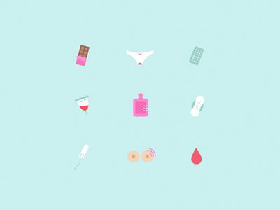 Period Icons cramps menstruation cycle icondesign period iconset