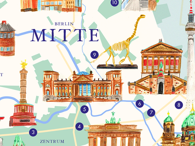 Illustrated Map Berlin Mitte