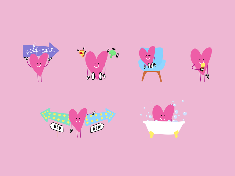 Self-Care Icon Set think pink love icecream humor heart icon set illustration
