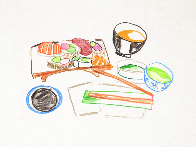 Lunch texture sushi food sketchbook coloured pencil