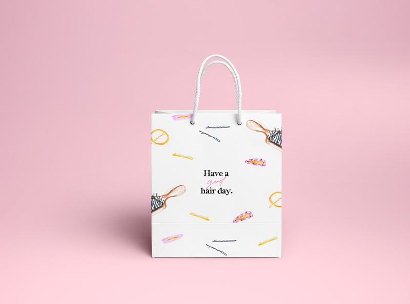 Beauty Bag Concept packaging pencil hair beauty hand drawn illustration