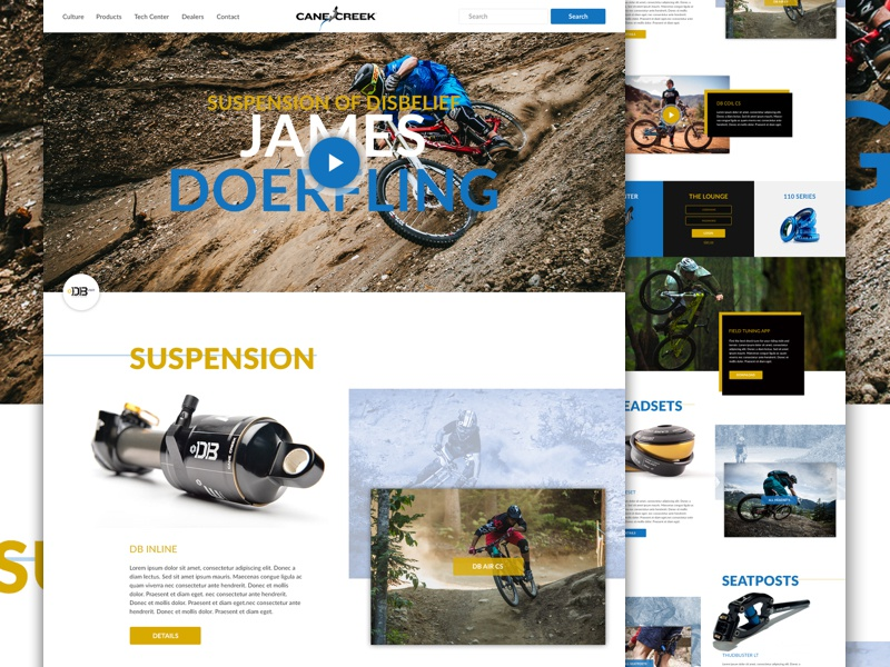 Cane Creek Cycling Components - Full typography exploded grid grid redesign mtb website