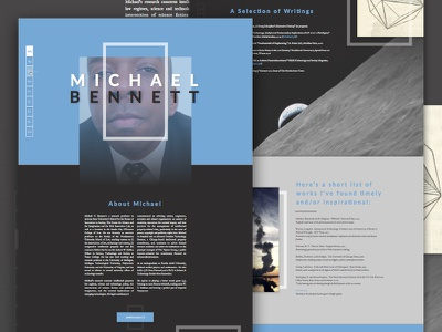 Website Redesign Preview: Michael Bennett  side navigation wip periodic table typography redesign nano ui exploded grid grid design website