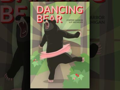 Dancing Bear Trail Poster sketch roar ballet design poster dancing bear illustration