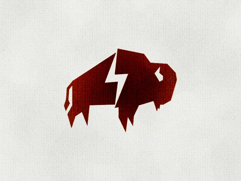 Bison Power Logo paper print buffalo animal coco bison logo designs sketch bolt lightning bison design logo