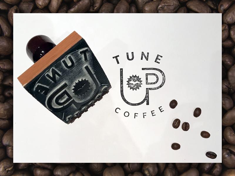 Tune UP Coffee Stamp caffeine black and white design brand branding lockup stamp coffee up logo