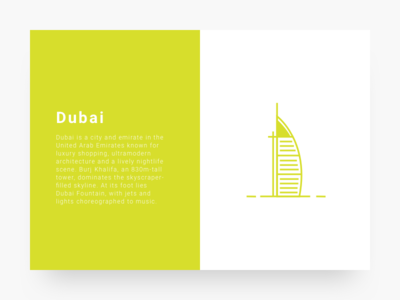 City illustration 1 : Dubai cityillustrationseries series card ui yellow icon line illustration city dubai
