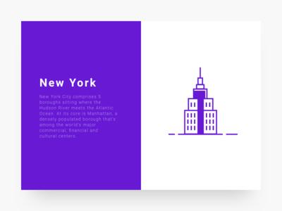 New York cityillustrationseries ui purple icon line illustration city new york