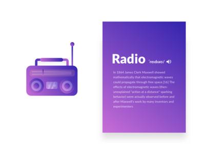Radio illustration  vector vintage purple gradient color illustration radio