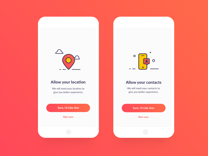 App Location And Contact Permissions screens