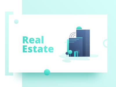 Real Estate Illustration design apartment stay building gradient green vector illustration estate real