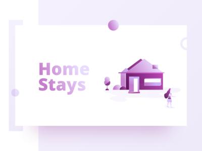 Homestays Illustration pink dribbble minimal design vector travel gradient home house illustration homestays