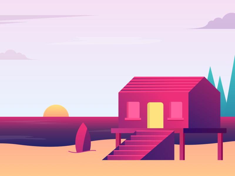 Beach House minimal city travel app gradient illustration design ui stay home house beach house beach