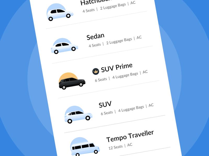 Cab listing illustrations tempo suv hatchback sedan premium cab car travel mobile dribbble icon app minimal ui gradient vector design illustration