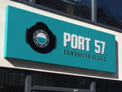 The new sign in place... sign port57 graphic design