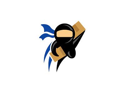 Ninja Shipping Logo funny mascot icon illustrator vector cartoon branding logo illustration ninja