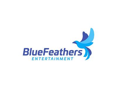 Blue Feathers Entertainment vector colors illustrator design bird icon minimal branding logo blue bird logo bird