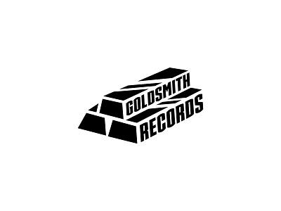 Goldsmith Records music gold bar negative space logo negativespace blackandwhite illustrator design clean vector branding minimal logo