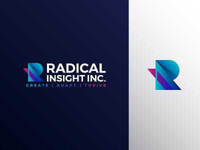 Radical Insight Logo modern logo vibrant colors vibrant blue ri logo r logo design clean vector branding minimal logo
