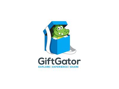 Gift Gator Logo Design gift logo gift box gator crocodile mascot character mascot design mascot logo mascot cartoon character cartoon vector illustration illustrator branding logo