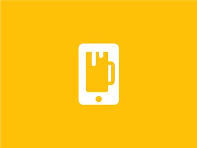 Drinking Apps yellow beer logo phone app phone logo negativespace negative space logo illustrator design clean vector minimal branding logo