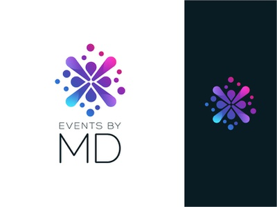 Events by MD logo colorful blue purple gradient color abstract logo splash happy fun events branding events logo event gradient logo gradient abstract illustrator design clean vector minimal branding logo