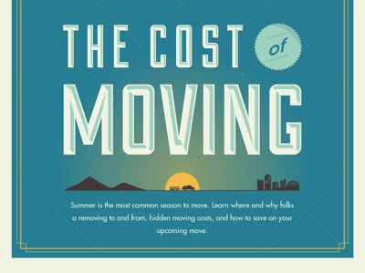 The Cost of Moving moving sunrise pretty cost mint killer infographic city cross-country subtle gradient silhouette
