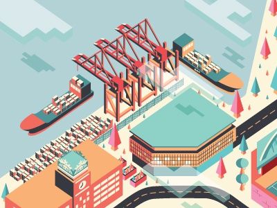 Seattle Sodo isometric killer infographics colorful trees cloud water ships starbucks sodo 3d geekwire pnw