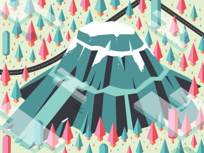 Isometric Rainier infographics killer hike illustrator vector trees mountain rainier isometric 3d cascades pnw