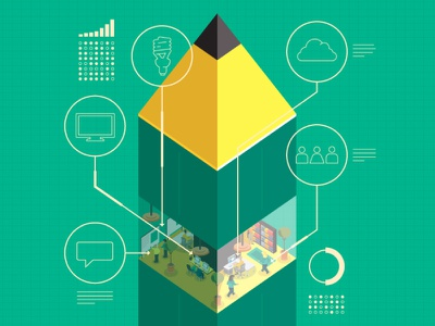 Compelling Visuals icons grid green ai visual agency ideas sketch isometric illustrator