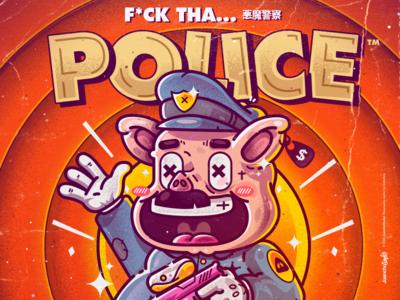 F*ck Tha Police police pig crazy beauty character venezuela art cool color creative illustration design