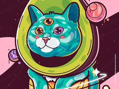 Gato 🐱Aguacate🥑 Galáctico🪐 Ancestral☄️.ᴳᴬᴳᴬ crazy beauty character cat venezuela art cool color creative illustration design