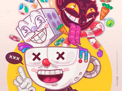 Cuphead. evil cuphead brain abstract relax crazy cute character beauty venezuela art cool creative color illustration design