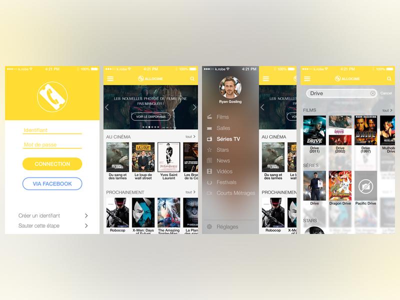 iOS 7 Allocine iPhone App concept allocine iphone app concept design flat ios7 ios ios 7