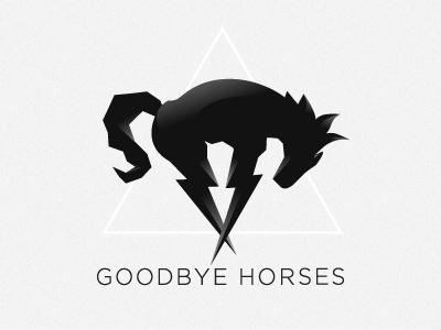 New logo for Goodbye Horses logo symbol icon horse lightning goodbye horses minimal
