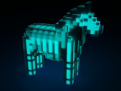 Dalecarlian horse voxel x-ray pixelated bones 3d pixel horse voxel