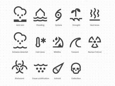 Bad Climacons climacons flooding drought wildfire tsunami biohazard astroid extinction icons symbols metrology global warming bad weather acid rain heat wave clod wave nuclear fallout end of the world