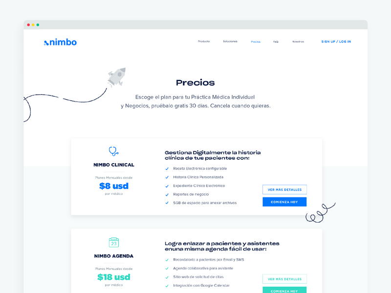 Nimbo Pricing page website web page web web  design healthcare ehr pricing plans pricing page pricing landing page landing