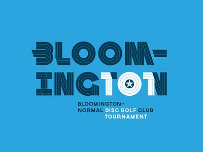 Bloomington 101 Disc Golf Tournament Logo white navy blue letterform typography custom type geometric thick lines captain america marvel logo tournament disc golf