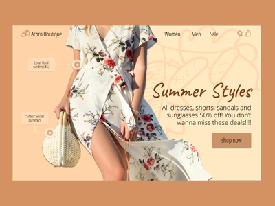 Acorn Boutique Homepage Mockup