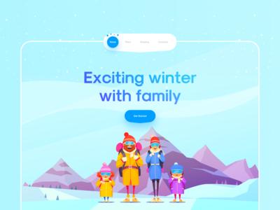 Winter Tour Landing ❄️☃️ tour trip snow web ui landing page landing website trend 3d winter mobile app web clean ui clean app ui uidesign app design app ui minimal