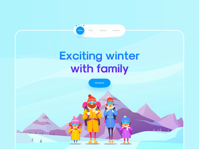 Winter Tour Landing - Animated ❄️☃️ web family trip tour trend 3d landing animation snow winter design minimalism clean ui clean app ui uidesign app design app ui minimal